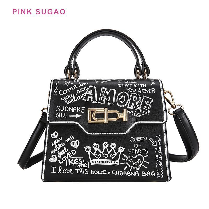 Pink Sugao Femmes Sac à fourre-tout Sac à main Sac à main graffitis 2020 nouveau sac à bandoulière à la mode Sac à main sauvage PU en cuir PU BHP