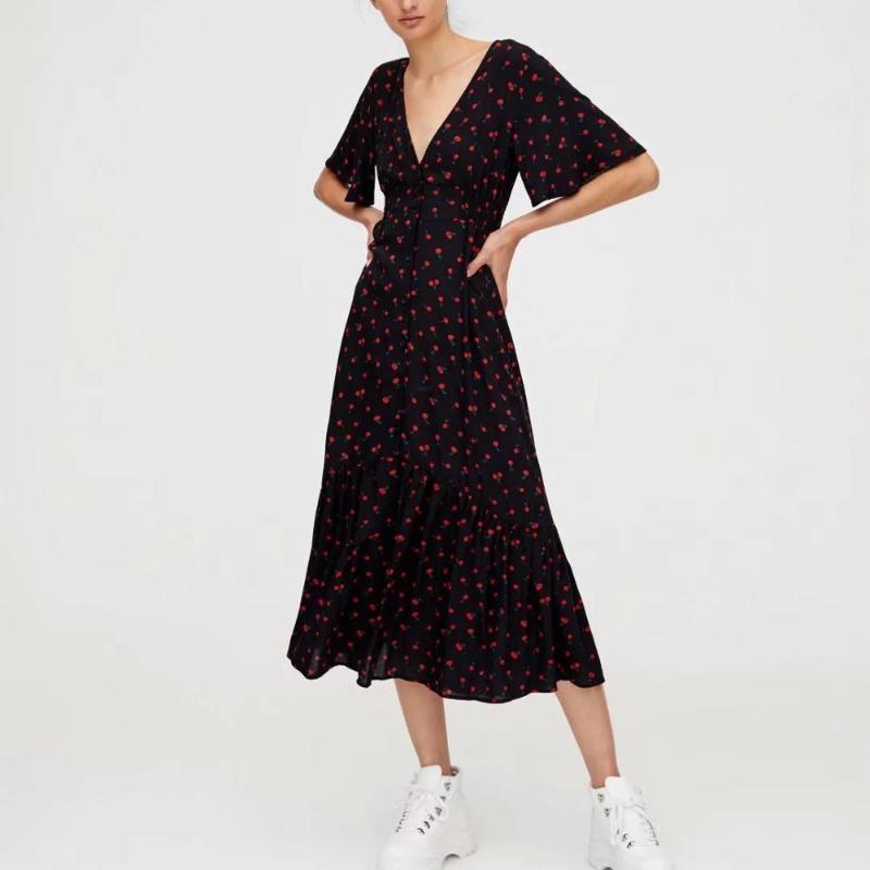 2020 новых женщин платья Red Cherry шаблон складки рюшей рукав V шеи дамы элегантного стиль призвания длинного платья женщина одежда