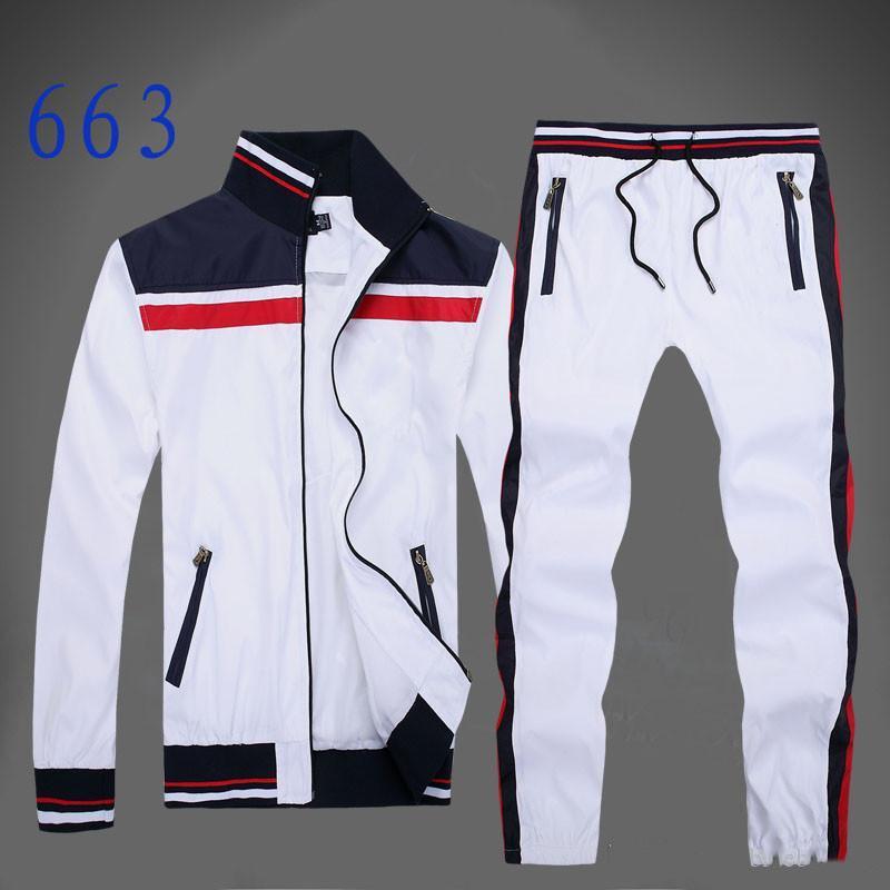 Sonbahar erkekler tam zip eşofman erkek spor takım elbise beyaz ucuz erkekler sweatshirt'ü ve pantolon takım elbise kapüşonlu ve pantolon seti erkekler eşofman