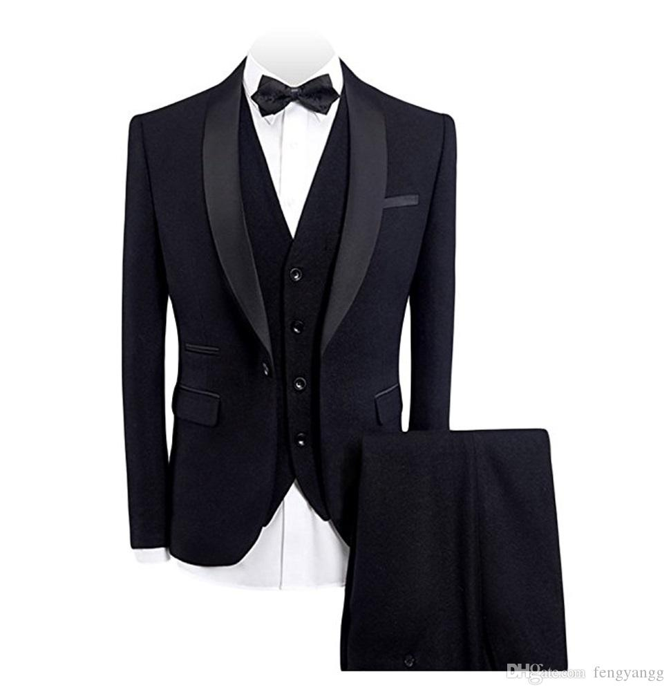 أزياء تناسب 3 قطع الرجال العريس صالح سليم شال التلبيب Fomal لالأعمال بدلة زفاف العريس البدلات الرسمية للحزب مساء (سترة + سترة + سروال)