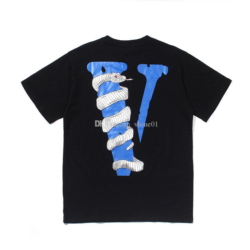 Vlone White Snake Mens T Shirt Vlone Stylist T Shirt Big V Logo Hip Hop de alta qualidade Homens Mulheres manga curta S-XL