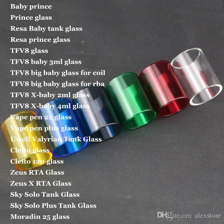 20 Kinds For Resa Baby Prince TFV8 big Vape pen 22 Plus Valyrian Cleito 120 Zeus X Sky Solo Plus Moradin 25 Replacement Pyrex Glass Tube DHL