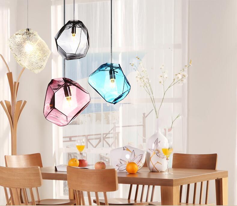 إضاءة هؤلاء رئيس واحد الشمال الملونة زجاج بسيطة حجر الثريا شخصية الإبداعية مطعم بار فندق هيستور