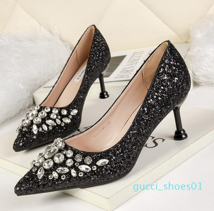 Sexy glitter prom shoes red silver gold pointed kitten heel pumps bridal wedding shoes luxury women designer shoes size 34 to 40 01g