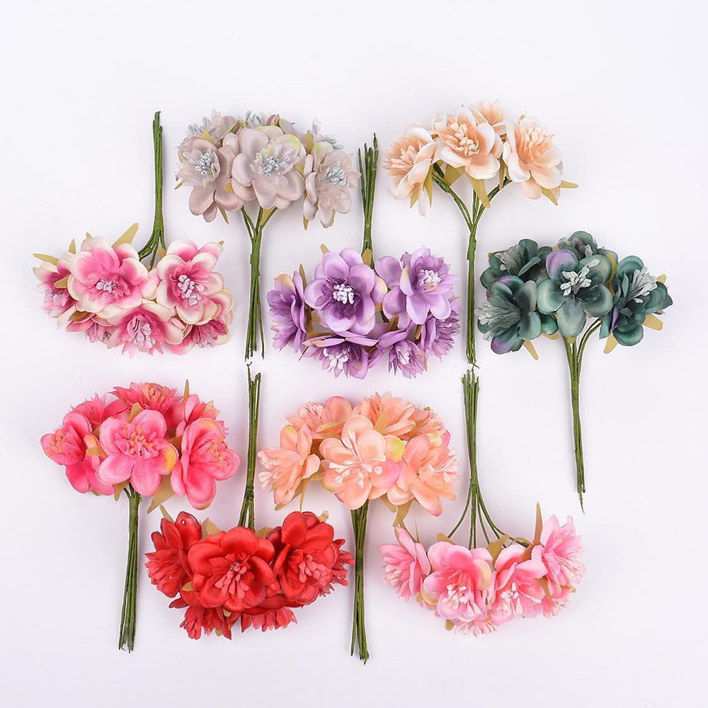6 unids / lote flor artificial ciruelo y estambre artificial mini flor de seda para la boda decoración del hogar Diy corona Scrapbook caja de regalo