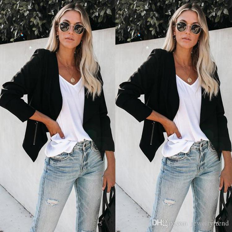 2019 Outono Europa Blazer das Mulheres Terno Jaqueta Casaco Manga Comprida Casual Magro Casaco Pequeno C5032