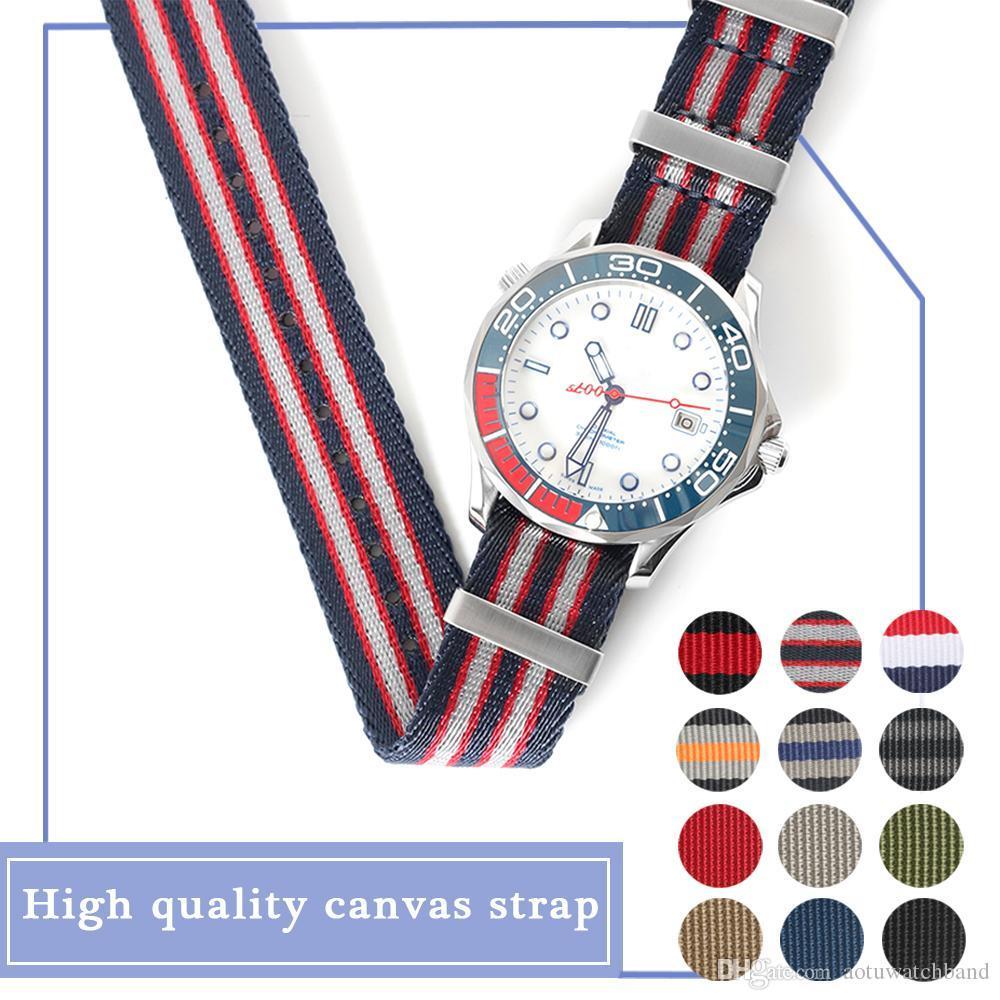 logolu Omega SEA gözleyin 27cm Uzun Naylon Nato Watchband watchstrap 007 Usta Mavi Spor Kayış 20mm