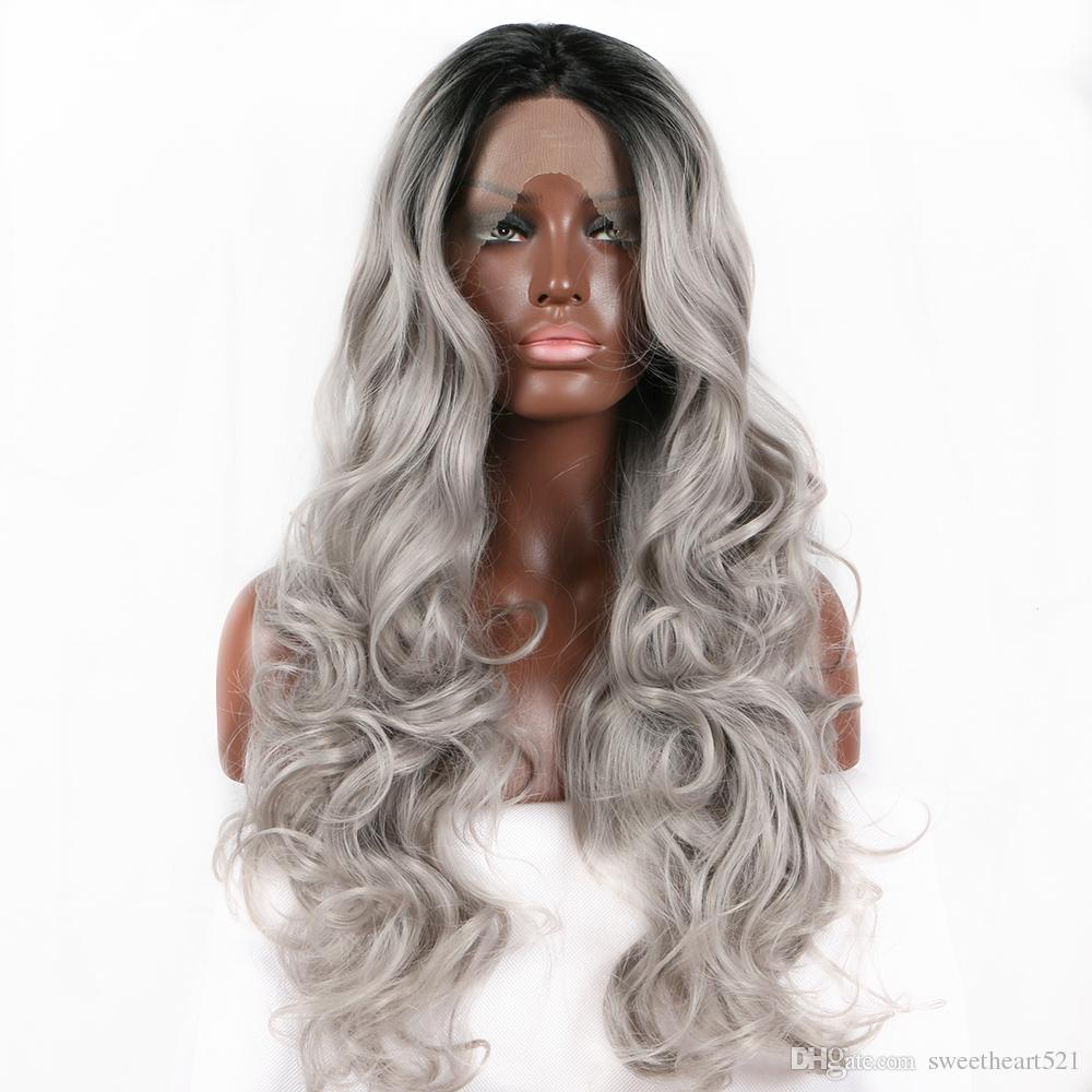 Sweetheart Natural Hairline High Temperature Fiber 180% Density Long Body Wave Hair Black Roots Ombre Grey Synthetic Lace Front Wig Real Pic
