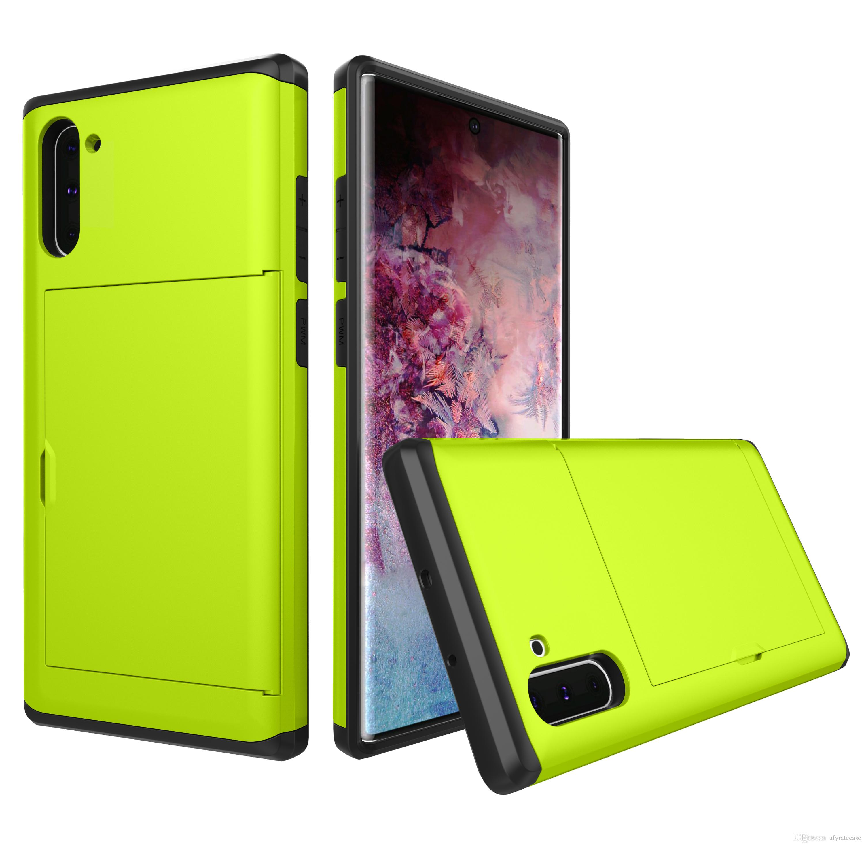 Hybrid Slide Card Slot Case For Samsung Galaxy Note 10 Note 10 Plus S10 S10 Plus S10e Note9 S9 S8+ S7 S6 Edge