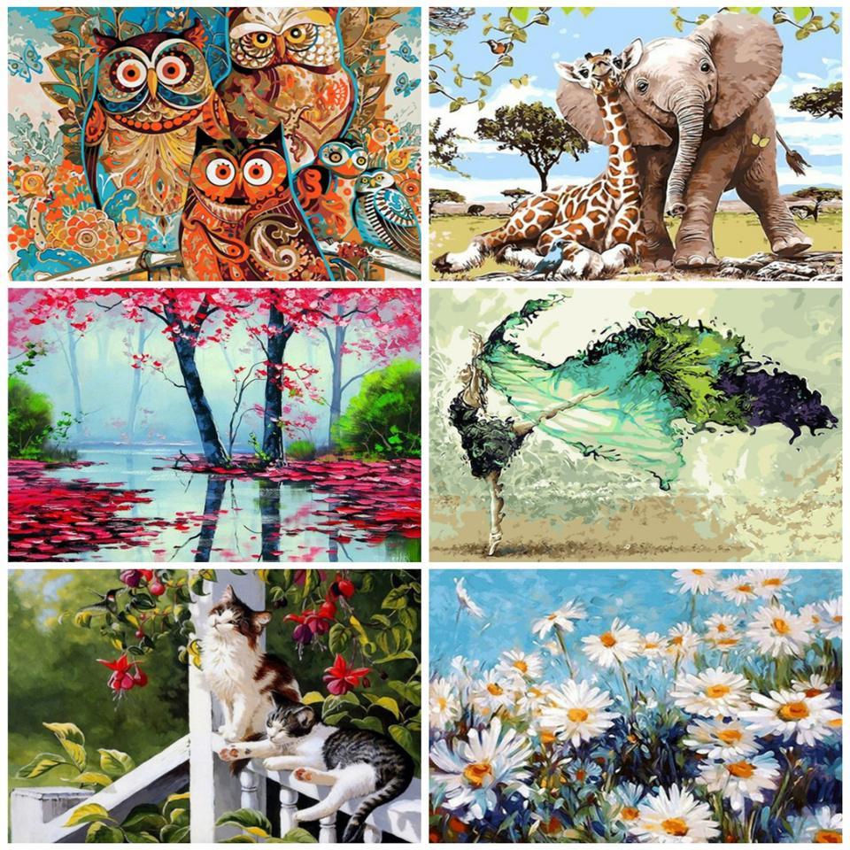 Azqsd Краска Номером Холст масляной живописи пейзаж Poster Красочные плакаты и распечаток Unfinished Craft Домашнее украшение Diy хобби