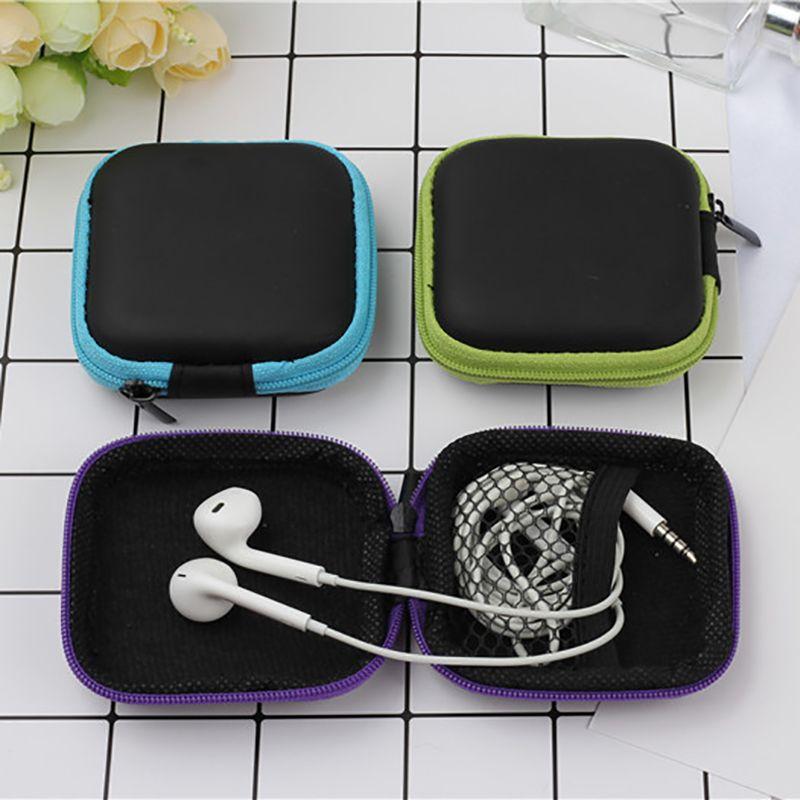 Headphone Cabo Armazenamento Discos Box Proteção Bag PU Zipper Bag Anti-portátil pressão sacos de armazenamento de dados Linha Box fone de armazenamento BH2193 CJT