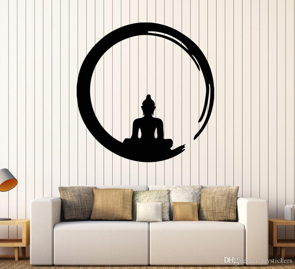 شخصية بوذا الفينيل ملصقات الحائط صائق البوذية التأمل دائرة enso زن الدين الجدار الوشم ديكور غرفة المعيشة