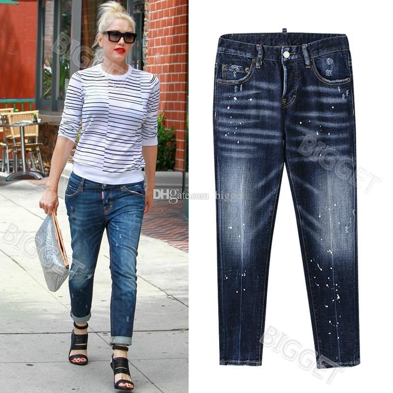 Woman Jeans NEW Design Paint Splattered Slim Fit Fading Wash Effect Denim Trousers Ladies Euro Fashion