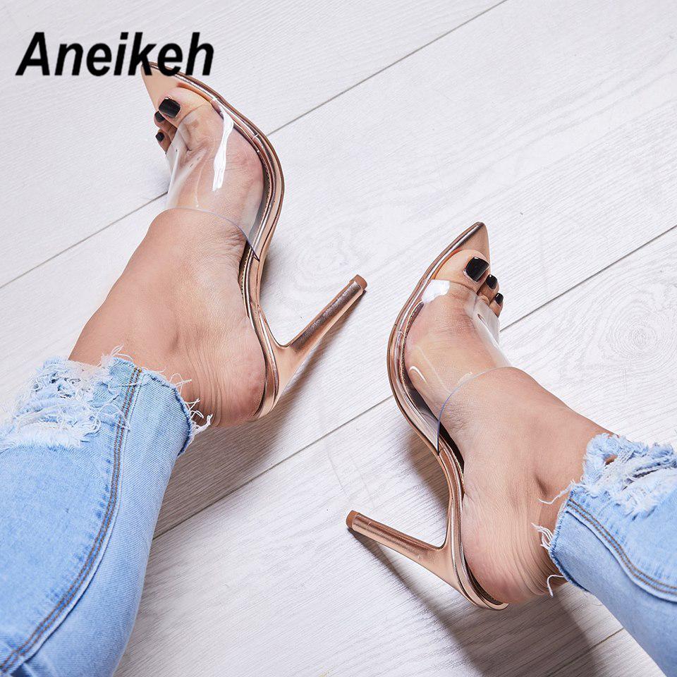 Aneikeh 2020 Classique PVC Talon d'été Pantoufles sexy transparent mince haut talons Solid Gold Toe POINTES Y200423 35-40