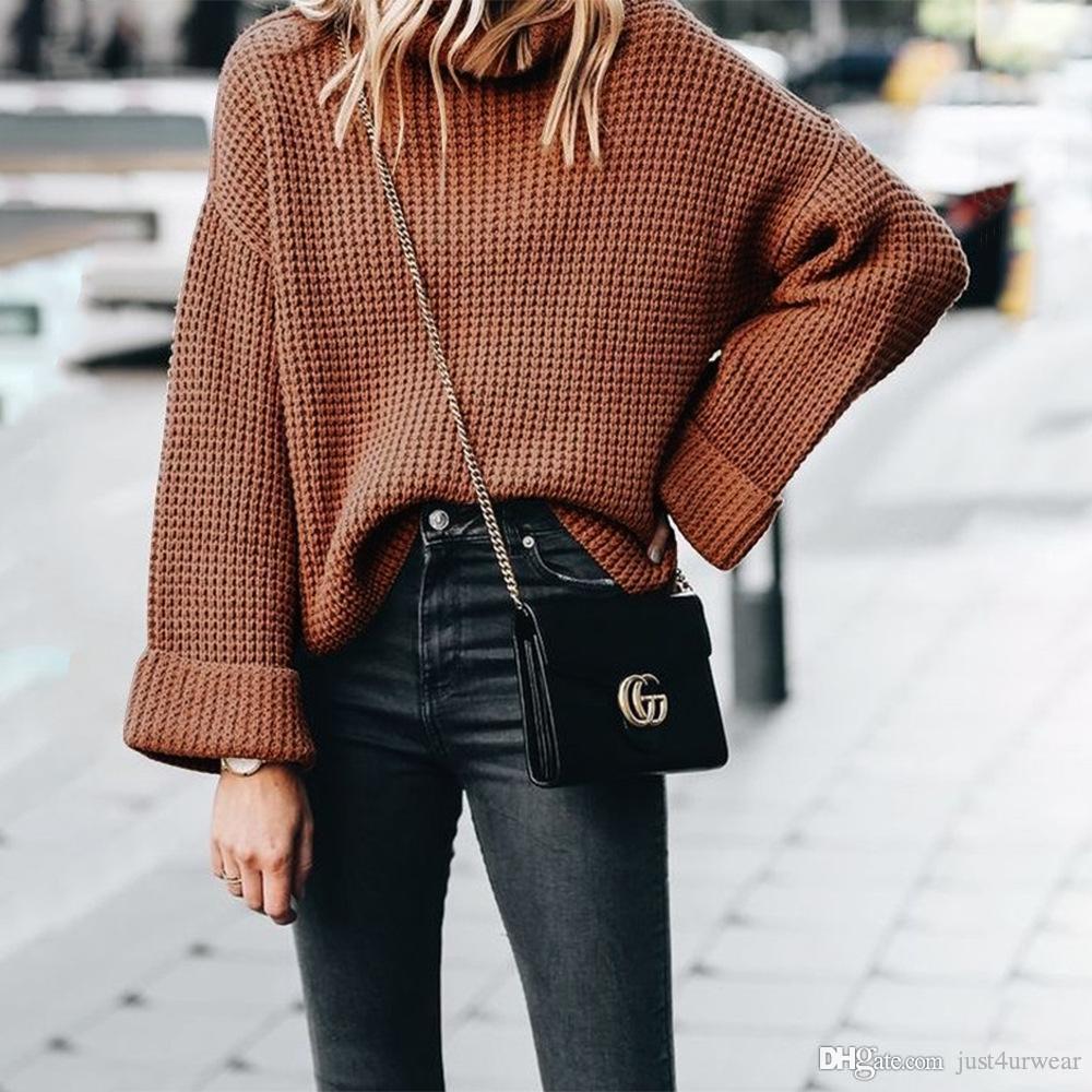 Womens solto Streetwear blusas de malha Tops Roupa cor sólida Turtle pescoço Camisolas Mulher do inverno Tops alta Neck Camisolas