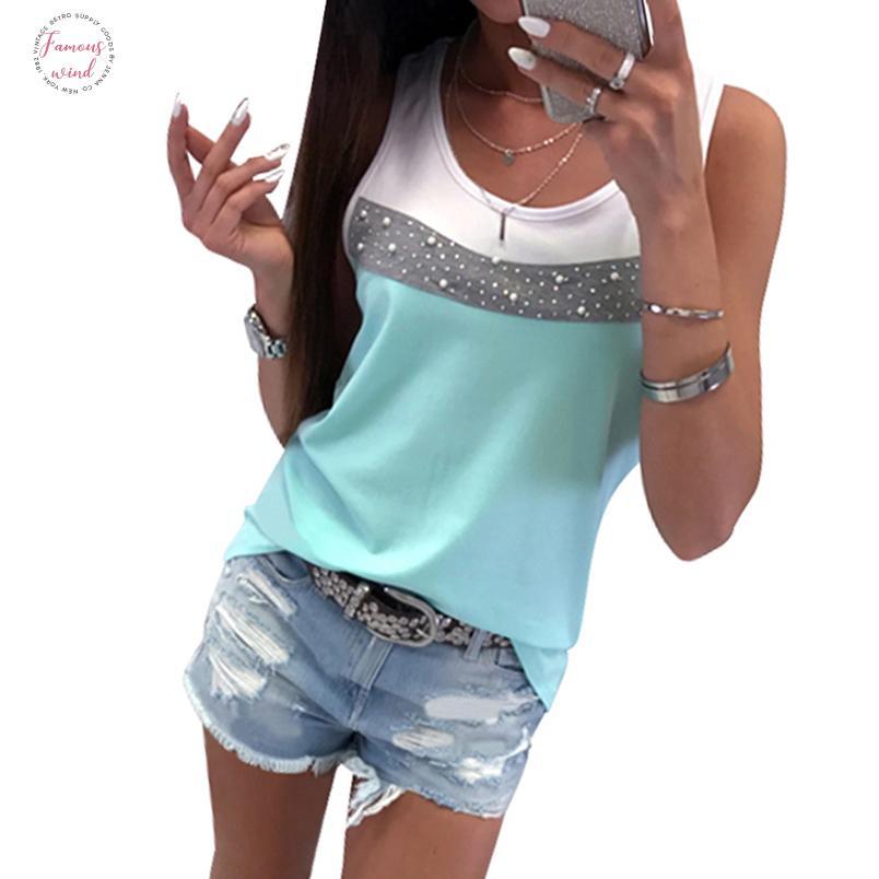 Las mujeres sin mangas del tanque del remiendo largo verano T camisas ocasionales de la manera tapas diamantes Femme O Cuello camiseta rebordear Tamaño Gv232
