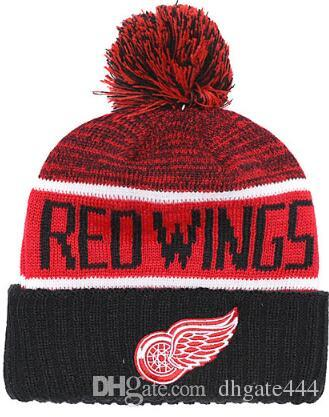 DETROID WINGS Ice Hockey Knit Beanies Embroidery Adjustable Hat Embroidered Snapback Caps Orange White Black Stitched Hat One Size