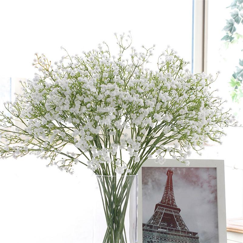 58cm Rustic Artificial Baby Breath Flower PU Wedding Flower Decor for Home Party Christmas Gift Gypsophila 21 Pcs
