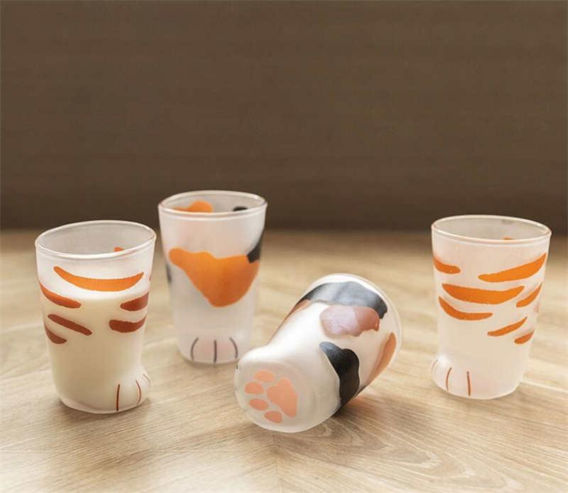 2020 10oz Cat Claw Cups Milk Glass Frosted Glass Cup Cute Cat Foot Claw Print Mug Cat Paw Coffee Kids Milk Glass Cupstumbler From Derlu01 6 34 Dhgate Com