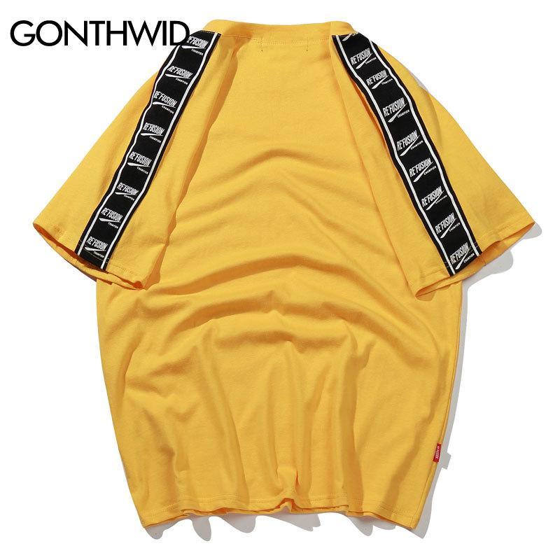 GONTHWID ленты Печатные коротким рукавом футболки Hip Hop Повседневная футболки 2020 Летняя мода Хлопок Тис Streetwear Tshirts Y200611
