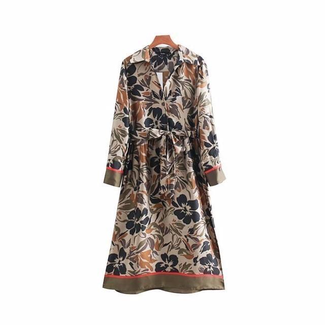 2019 women floral print shirt dress bow tie belt stripe long sleeve vintage mid calf casual dresses vestidos QA826