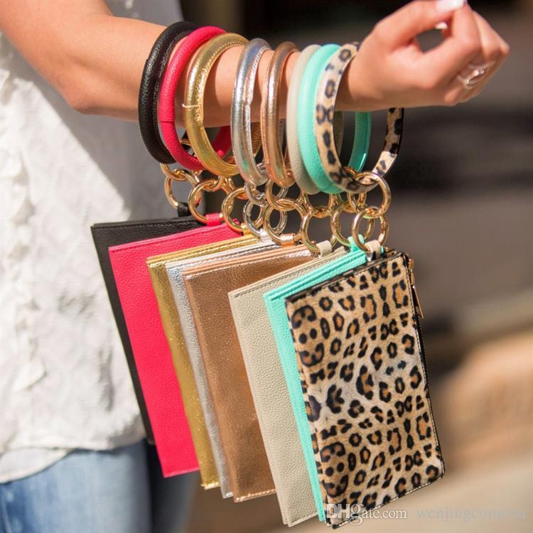 Round PU Leather Bangle Hang Change Purse Phone Bag Clutch Wristlet Keychain Bracelets for Women Girls Christmas Jewelry Gifts