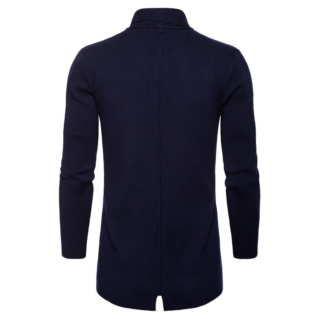 Support solide Printemps Automne Hommes Ouvert Point manches longues Col Manteaux Manteaux Casual Mode tricot avec poche Vestes hommes