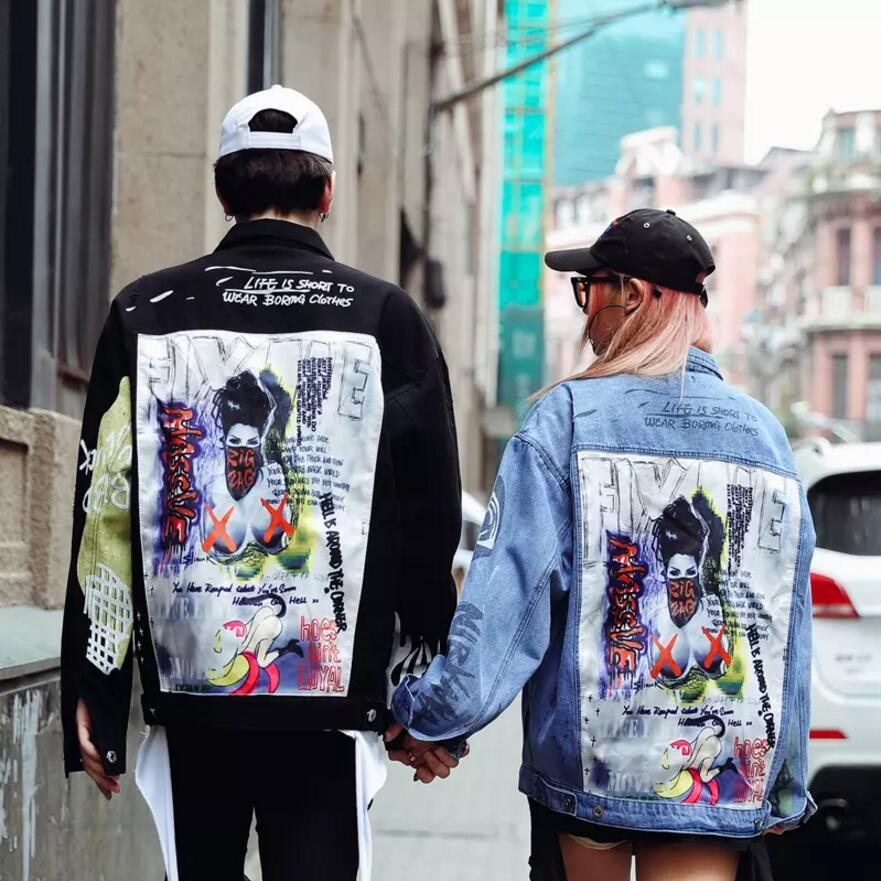 Moda- remendo Designs Denim Jacket Outono Roupa High Street Hip Hop Punk Vintage Graffiti Cowboy Brasão motocicleta Outwear