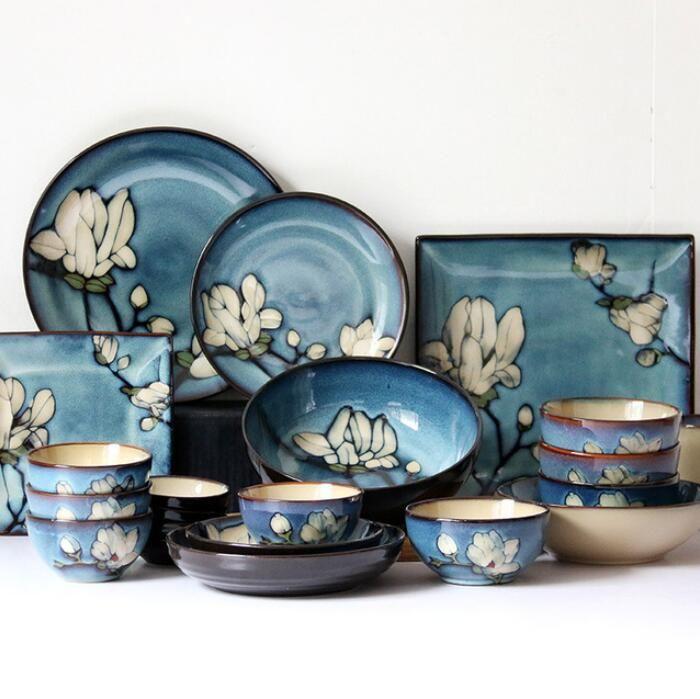 Nuovi piatti di ceramica giapponesi di alta qualità Set piatto posate Piatti quadrati profondi dipinti a mano Ciotola di spaghetti di riso per uso domestico Ciotola all'ingrosso