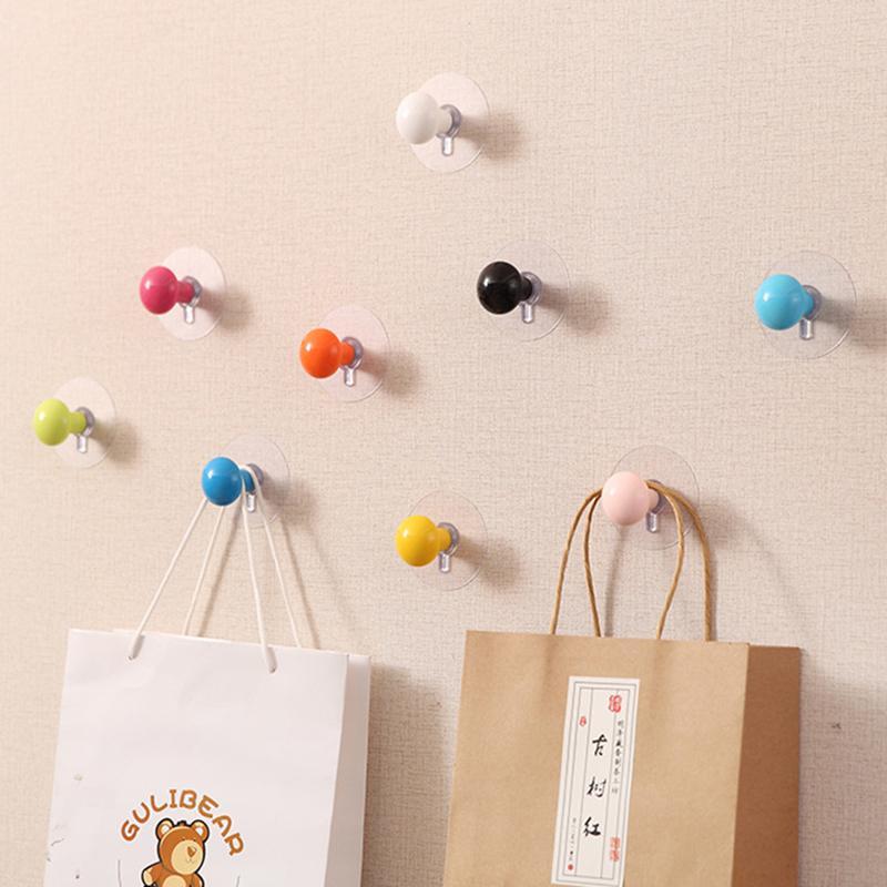 Bunte Wandtür dekorative Haken-Handtaschen Schlüssel Schal Sundries Aufhänger stark klebendes Halter für Küche Badezimmer-Zubehör