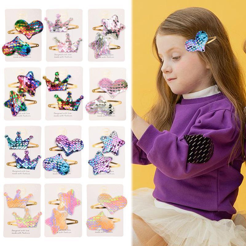 Sequined Spangen für Mädchen Kids Boutique Haarschmuck koreanische Art und Weise Litle Mädchen-Herz-Kronen-Sterne-Haarspangen