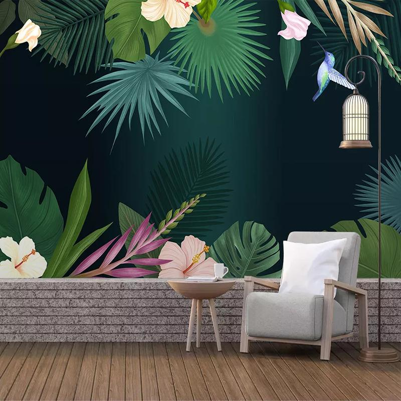 Dropship Custom 3D Mural Wallpaper European Style Tropical Rainforest Plant Leaf Photo Background Wall Murals Non-woven Wallpaper Modern