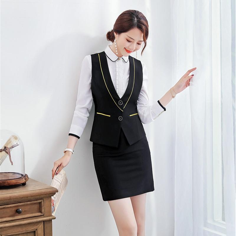 Formal Black Waistcoat Women Business Suits 2 Piece Skirt and Top Sets Ladies Work Wear Vests Style
