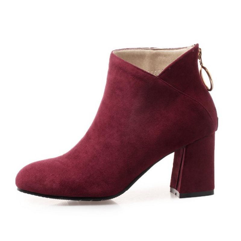 Sıcak Satış-Size 32-45 Kadın Yüksek Topuk Boots Peluş Kürk Kış Bayan Ayakkabı Bilek Boots Sıcak Fermuar Moda Daliy Kadın Ayakkabı