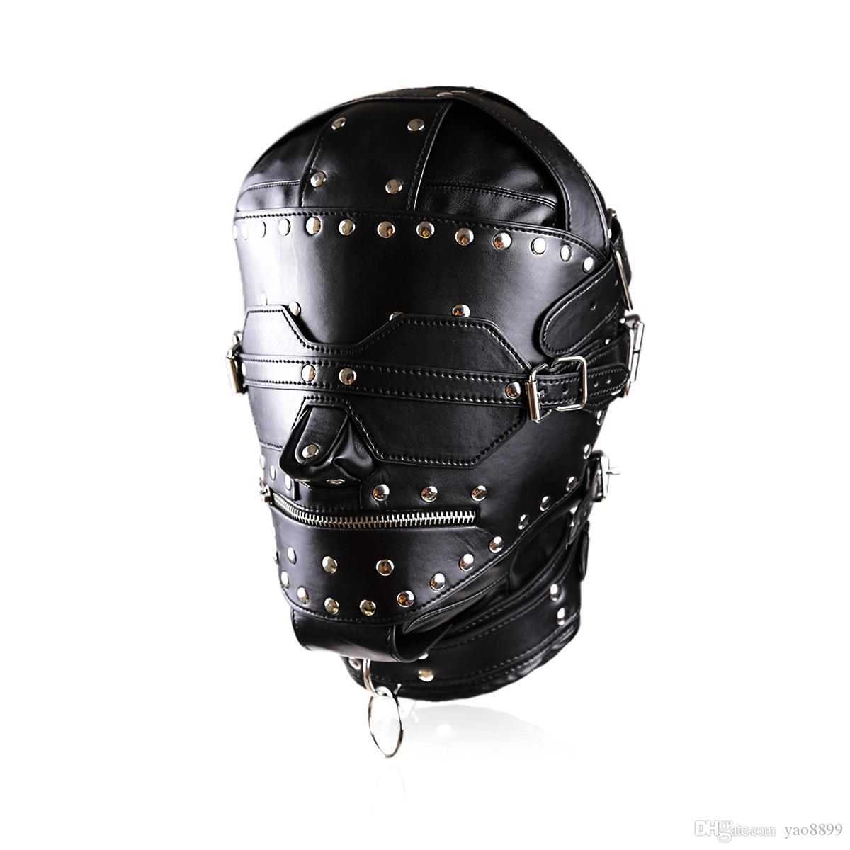 2021 ZIP кожа / с рабством рабства капюшон замок блокировки полная новая новая новая роскошь роскошная маска роскоши W889 KQWNV