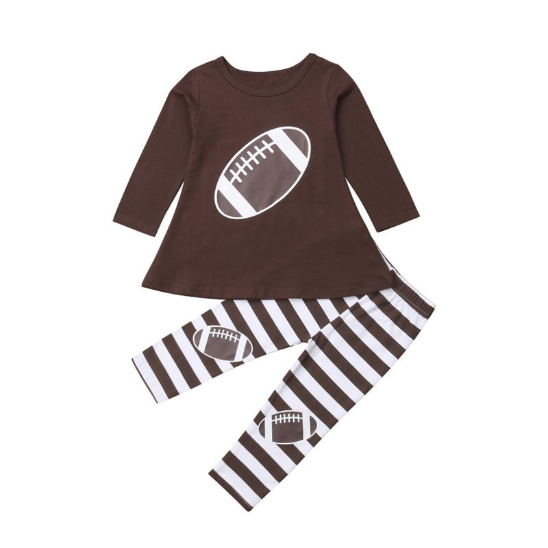 2PCS recém-nascido criança Baby Kids Clothes menina definição de impressão de algodão listrado mangas compridas T-shirt + calças infantil Roupa Treino Roupas