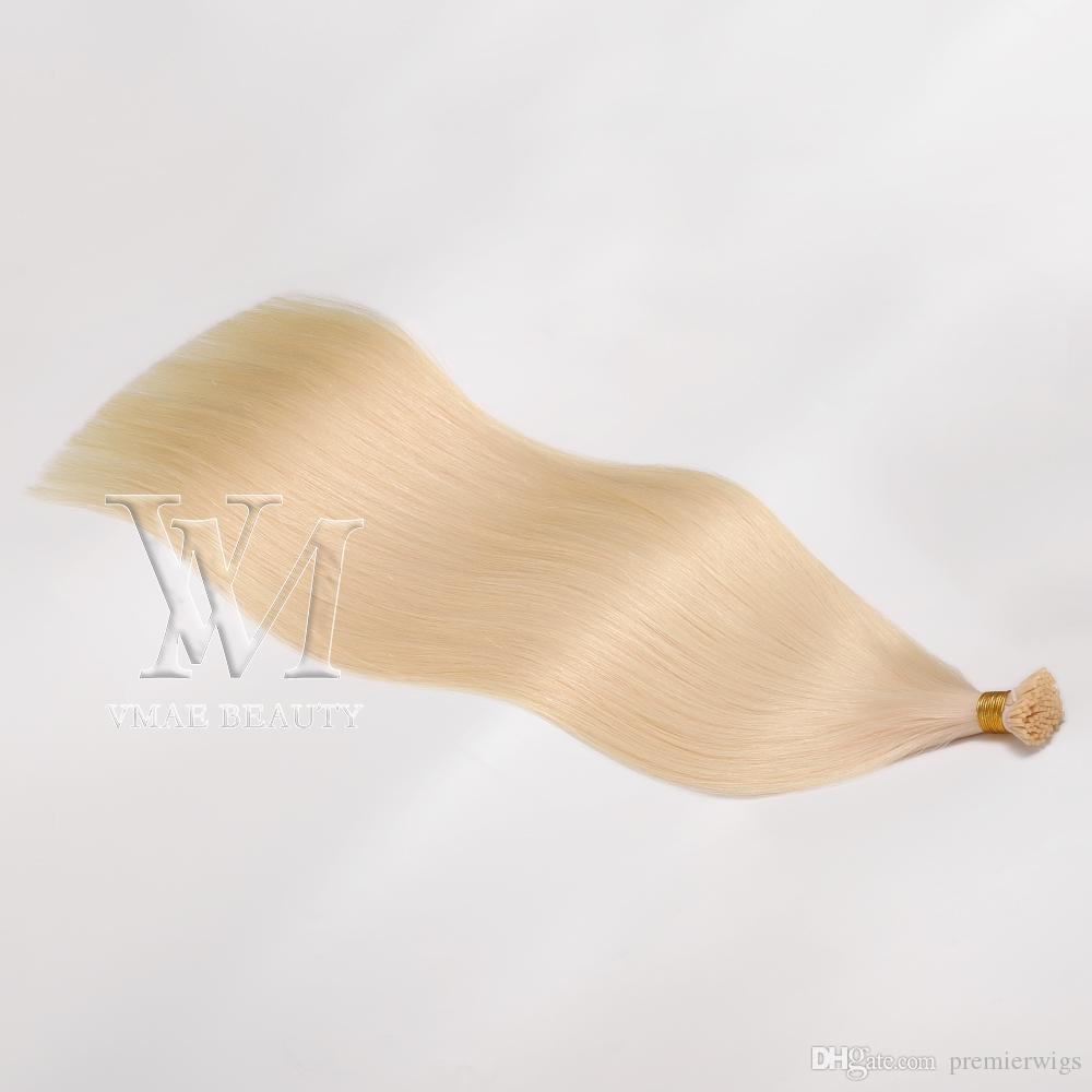 European Blonde Brown Natural Black 0.5g Strand 100g Pre Bonded Straight Keratin Stick I Tip Human Hair Extensions