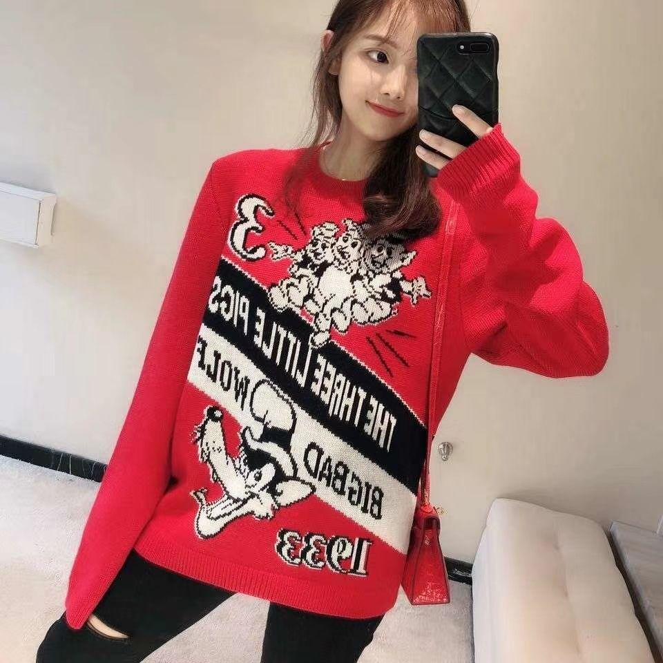 Milão Runway Sweater 2019 Primavera Vermelha Manga Longa O Pescoço das Mulheres Camisolas High End Carta Jacquard Pullover Mulheres Designer de Camisola 011104
