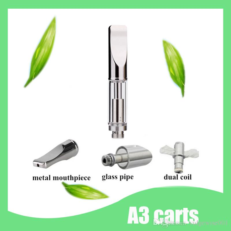 A3 ceramic coil glass Cartridge vaporizer pen Dual Coil Refill Atomizer 0.5ml 1ml Pyrex glass tank atomizer 510 thread