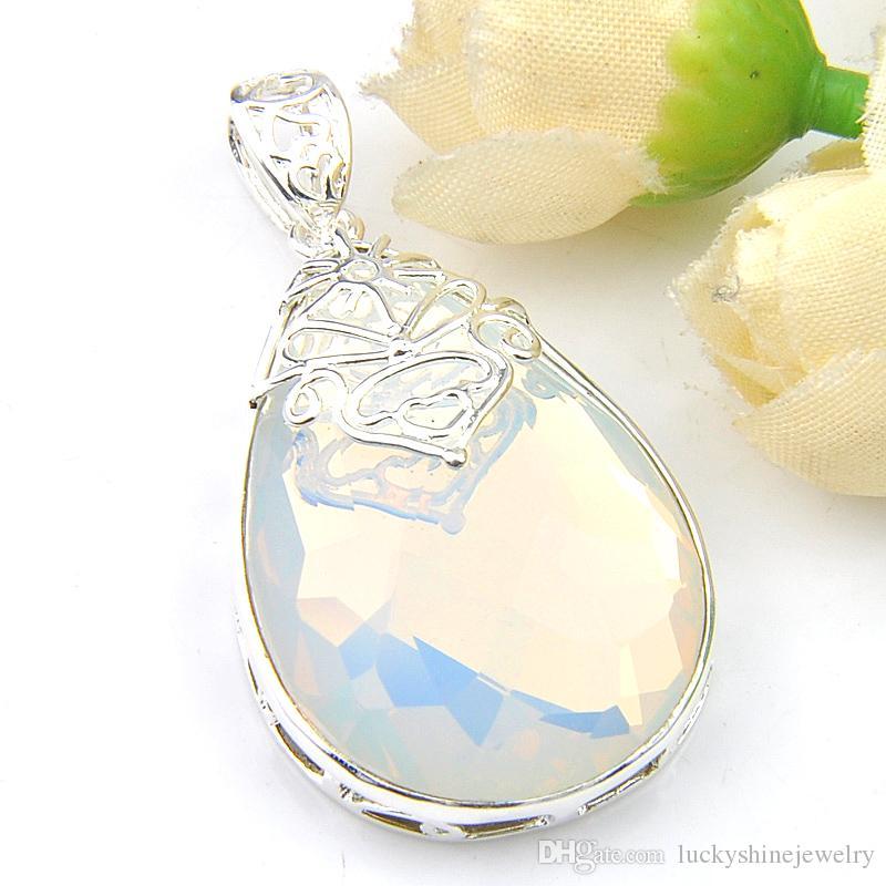 'Luckyshine joyería 925 en blanco Moonstone suave colgantes del collar 1.58 de alta calidad chapado en plata de ley gota del agua' Pendientes de la joyería de DIY