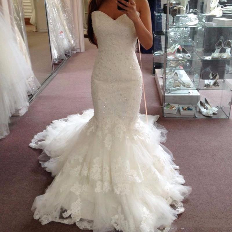 Custom Lace Mermaid Wedding Dresses 2020 with Beads Appliques Strapless Tulle Sweep Train Lace Up Back Wedding Bridal Gowns