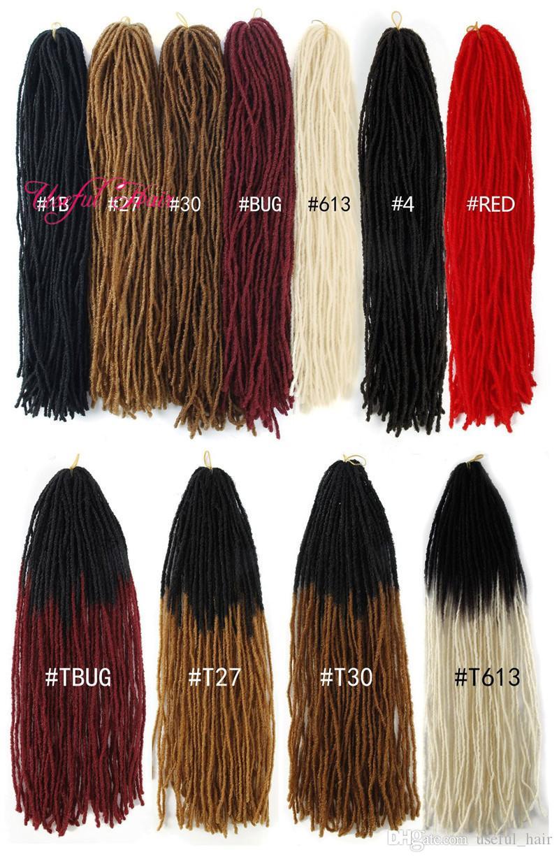 rastas bricolaje Micro Locs hermana Locs extensiones de cabello ganchillo pelo sintético tejen 18 pulgadas de cabello trenzado directamente a Marley negro Mujeres