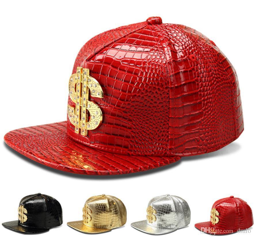 Fashion Hip Hop Caps Baseball Caps Hats Adjustable Snapback Baseball Cap Men Women PU Leather Hiphop Hats Alligator Grain Snap Back Hat