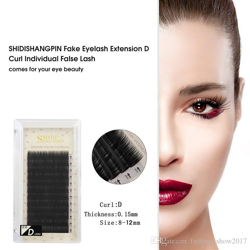 New SHIDISHANGPIN Fake Eyelashes Extension Individual False Lashes B C D Curl Black Volume Eyelashes Extension