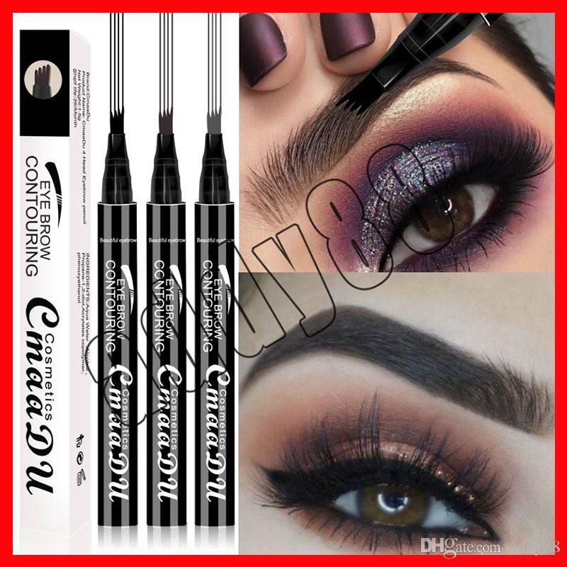 2019 CmaaDu marque maquillage pour les yeux liquide stylo à sourcils longue durée imperméable à l'eau liquide sourcils Enhancer 3 couleurs 4 tête crayon à sourcils
