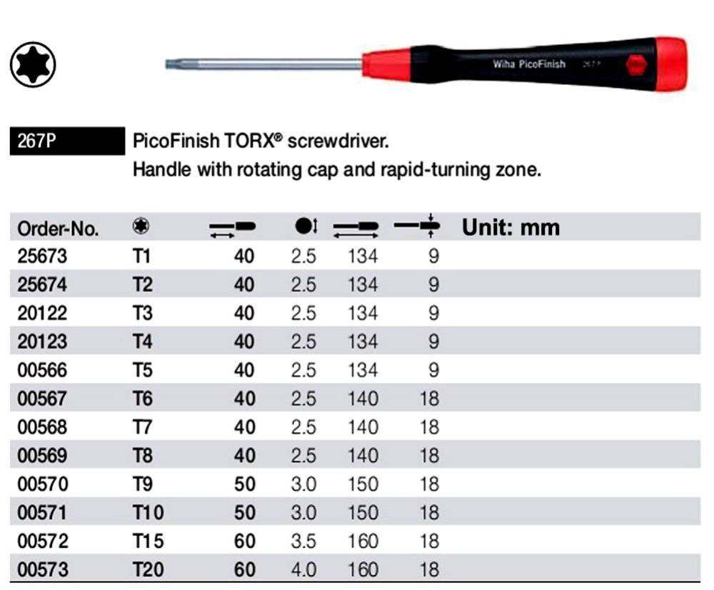 Deutschland Wiha Torx T1 ~ T20 PicoFinish-Schraubendreher Befestigungsaufgaben für die Elektronik Präzisionsmechanik Anwendungen DIY Modellbau