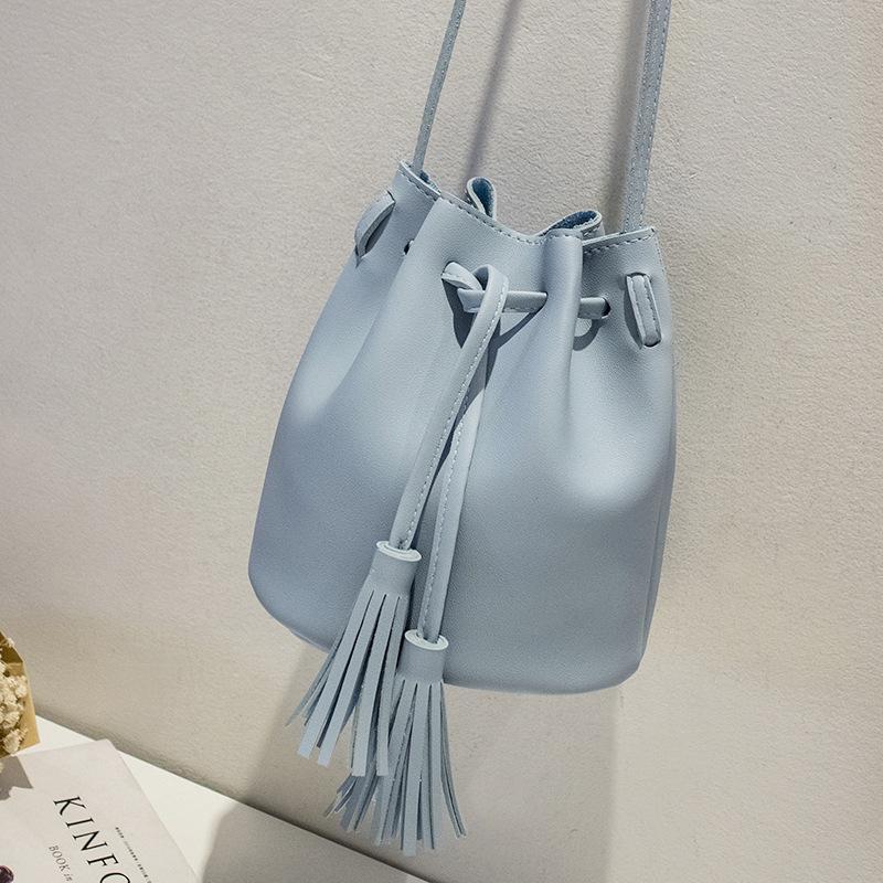New Women Bag Japan Style Fringes Bags For Women Drawstring Buckets Single Women Messenger Bag sling bag female pouch