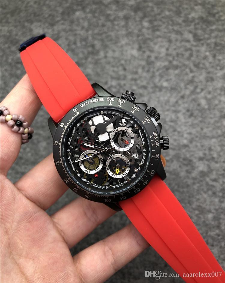 trabalho funcional China Luxury Men relógio de alta qualidade VK Quartz Mestre relógios para homens Srubber Belt Negócios Chronography Relógio Todos