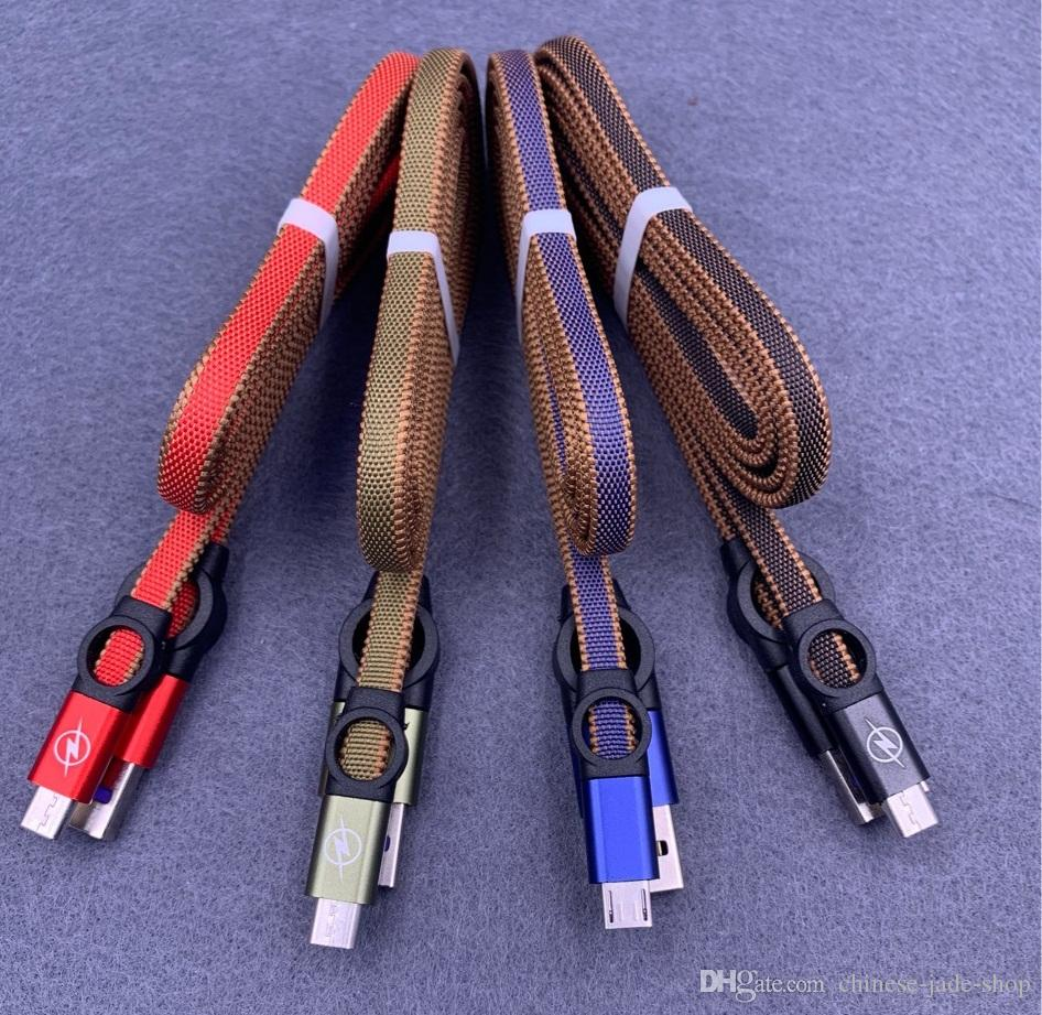 Type c Micro USb Cable 1M 3FT Ferris wheel Woven nylon noodles 2.0A Hybrid Color for Smart Phone 100PCS/LOT