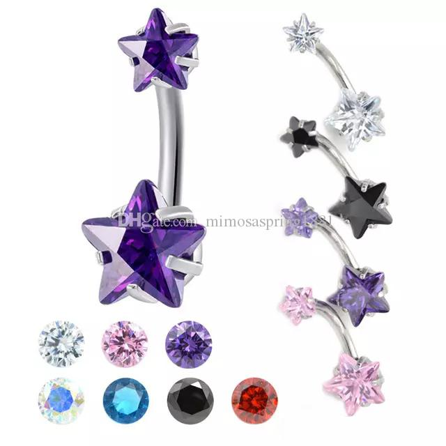 Silver Star 316 Surgical Steel Belly Button Ring Bar Navel Crystal Body Piercing